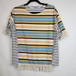 Zara Striped Women's blouse Fringe Size Medium